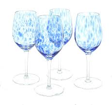 100 Poland Glass Blue Rose Polish Pottery Cobalt Confetti Wine Set