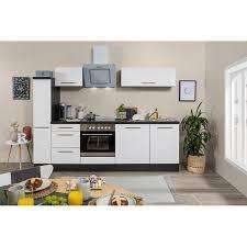 respekta premium küchenzeile rp250ewc 250 cm eiche grau nb weiß