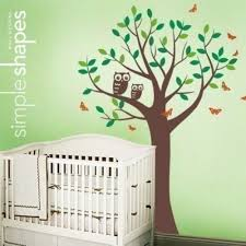 tree with two owls and butterflies decal set room wall decal