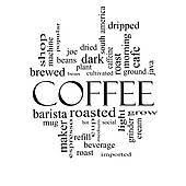 Coffee Machine Cartoon Theme Word Cloud Concept In Black And White