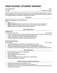 Sample Resume Of High School Student Resumes For Highschool Students