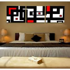 Unframed 3 Panel Abstract Picture White Red And Black Geometric Figure Wall Art Painting Print Canvas