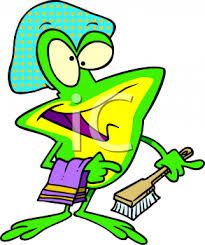 0511 1002 2500 4837 Cartoon Frog Going to Take a Shower clipart image