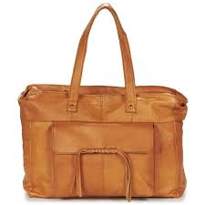 pieces musta leather bag cognac sacs à porté épaule femme