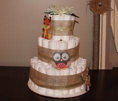 Woodland Themed Three Tier Diaper Cake Rustic Baby Shower Gift Or
