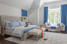 Blue Velvet King Headboard by Blue And Beige Bedrooms Transitional Bedroom