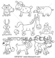 Clip Art Of Coloring Book With Farm Animals K9732157