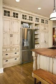 Rustic Kitchen Like The Small Paned Glass Cabinets Also Drawers Under Next To Fridge Not