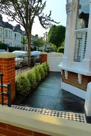 Victorian Terrace Black Limestone Paving And Red Brick London Garden Wall L With Mosaic White Tile Path