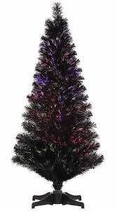 3 Pre Lit Jet Black Fiber Optic Artificial Christmas Tree