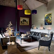 purple living room with grey velvet sofa living room decorating