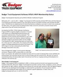 Badger Truck Equipment Earns NTEA MVP Status - Badger Truck Equipment Quality Alinum Truck Bodies Pennsylvania Martin Bart Competitors Revenue And Employees Owler Company Profile Nteanational Equipment Association Public Works Magazine Transportation Career Pathway Untitled About The Industry Sema Wikipedia Natroad Conference National Road Transport Limited T065 May 2006 Ntea Jones Industrial Sales Web Central Greenbook 2003 The For Work