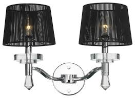 contemporary 2 light chrome finish wall sconce with black