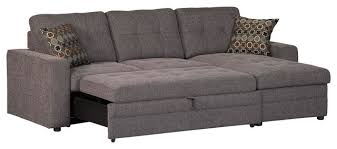 Casual Dark Gery Gus Sectional Sofa With Tufts Storage Pull Out