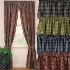 Checkered Flag Window Curtains by Sturbridge Curtain Panels Primitive Home Decors