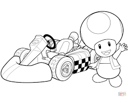 Toad In Mario Kart Wii Coloring Page Pages