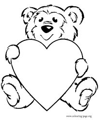 Teddy Bear With A Heart Coloring Page
