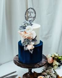 This Cake Says It All White And Navy With A Touch Of Apricot Beautiful Fresh Florals Finished Personalised Topper
