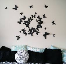 Creative IdeaBedroom Decor With Beautiful Black Butterflies Wall Decorations Above Pillows Bedroom