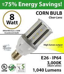 8 watt led corn bulb 1 040 lm 100w replacement 3 000k ip64 e26 ul