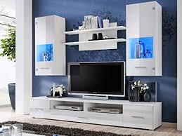 kryspol wohnwand reno anbauwand wohnzimmer set modern design weiß matt weiß glanz