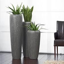 moderne hochwertige pflanzvase pflanzkübel klein 75cm steinoptik grau fiberglas mit einsatz indoor outdoor wetterbeständig