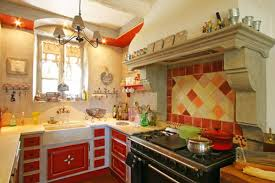 Unique French Country Kitchen Decor In Yellow And Red Colors With 4