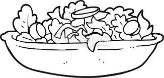 Black And White Cartoon Salad Vector Art