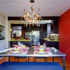 Bold Eclectic Dining Room With Red Accent Wall