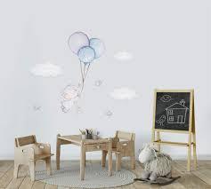elefant ballon wanddeko vögel wandtattoo himmel wandsticker