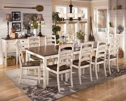 Antique White Dining Room Table With Wooden Pedestal Tables Furniture Gray Flower Rug For Designer Chairs