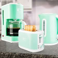 Set Of 3 Breakfast Water Cooker Coffee Machine 2 Slices Toaster Mint Green