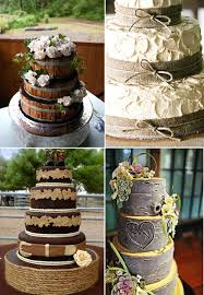 Burlap And Navy Blue Wedding Wooden Country Rustic Cakes