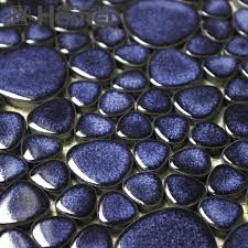shipping free navy blue pebble ceramic mosaic tiles bathroom