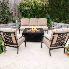 Bocage 4 Piece Cast Aluminum Patio Fire Pit Conversation Set W/ Sofa ... Hanover Summer Nights 5piece Patio Fire Pit Cversation Set With Amazoncom Summrnght5pc Zoranne 4 Chairs Livingroom Table With Outdoor Gas And Tables Sets Fniture Fresh Ding Shop Monaco 7piece Highding 6 Swivel Rockers And A The Greatroom Company Kenwood Linear Height Alinum Cheap Chair Beautiful Comet 8 Wicker Chat Tank Awesome Top 10 Envelor Oval Brown 7 Piece Poker Stunning