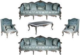 casa padrino luxus barock wohnzimmer set hellblau silber 2 sofas 2 sessel 1 couchtisch prunkvolle wohnzimmer möbel im barockstil