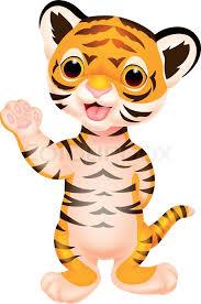 Vector illustration of cute baby tiger cartoon waving vector clip art