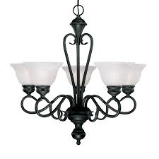 Millennium Lighting Devonshire 5 Light Black Traditional Alabaster Glass Shaded Chandelier