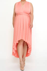 high low light coral convertible dress plus size from xxl to 5xl