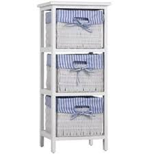 casaria korbregal badregal mit 3 körben landhaus stil paulownia holz bad küchen regal kommode anrichte schublade farbe blau weiß