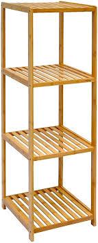 dunedesign xl bambus holz regal 124 5 x 38 x 39 5 cm 4 fächer stand regal badezimmer ablage küchen aufbewahrung badregal