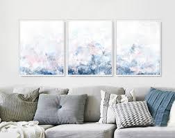 wohnzimmer poster set set 3 aquarell kunst set 3er set blau 3 poster set druckbare wandkunst aquarell set bedruckbare leinwand set