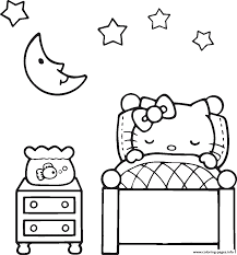 Lovely Sleeping Hello Kitty 7fa3 Coloring Pages Print Download 458 Prints