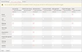 You Can Specify Here Which Activities Are Available For User Groups And Also Work Should Be Logged