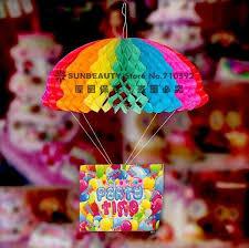 Rainbow Paper Parachute Drop Decor Garland Tissue Craft Hanging Decorations For Kids