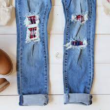 plaid patch skinny jeans cozy distressed denim jeans from spool