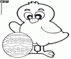 Chick And Small Easter Egg With Flowers Coloring Page
