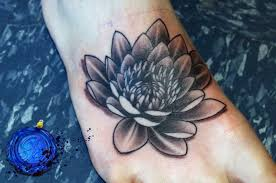Black And White Lotus Tattoo On Right Foot