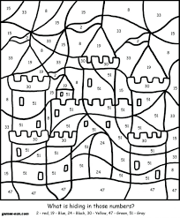 Coloring Pages Printable Color By Number Christmas Free For Adults Advanced Colouring First
