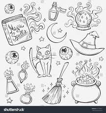 Scary Halloween Witch Coloring Pages by Halloween Witches Attributes Doodles Set Stock Vector 211790221
